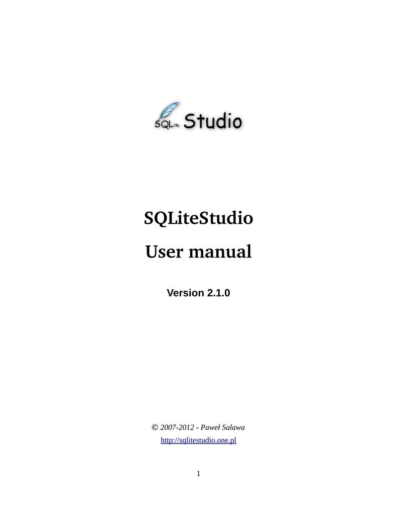 SQLiteStudio User manual   manualzz com