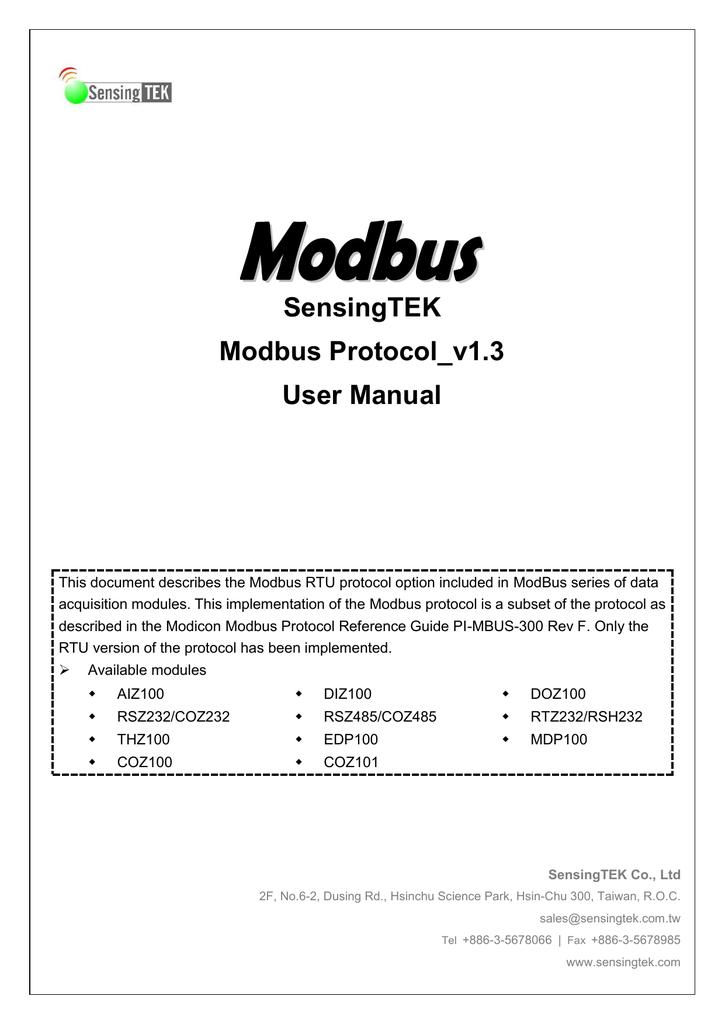 SensingTEK Modbus Protocol_v1 3 User Manual | manualzz com