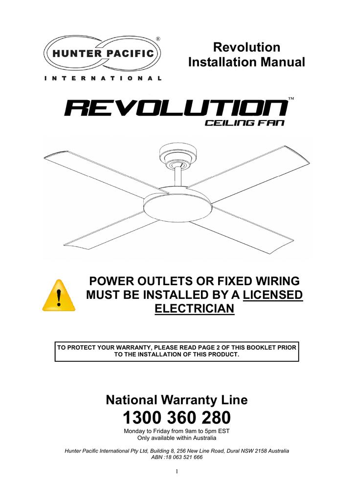 Revolution Installation Manual National Warranty Line Manualzz