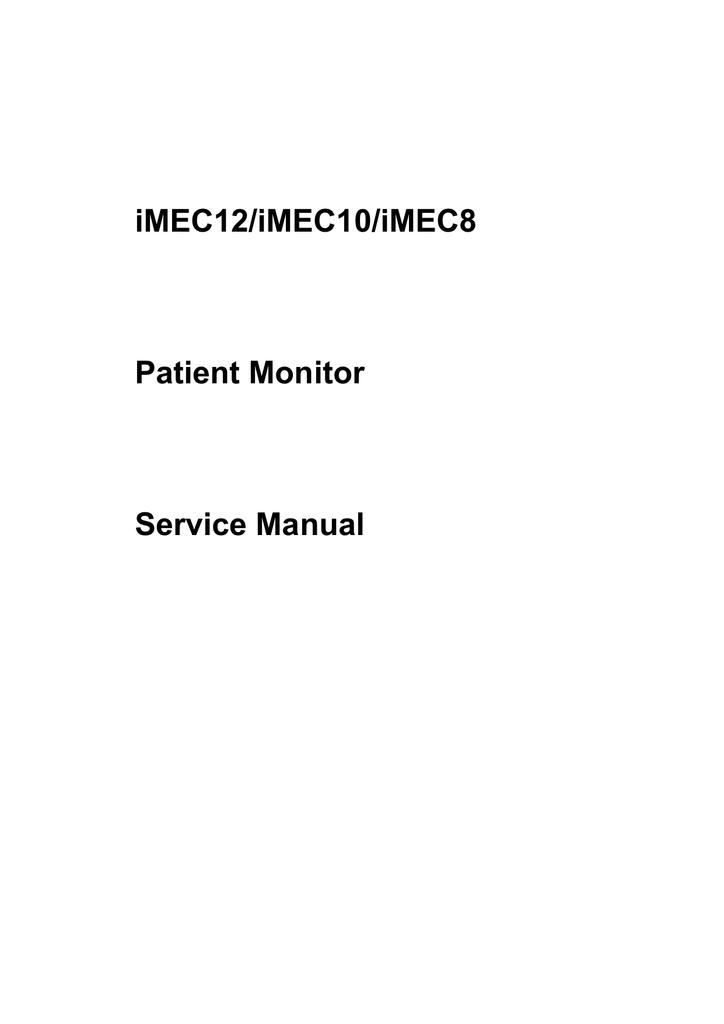 Imec12  Imec10  Imec8 Patient Monitor Service Manual