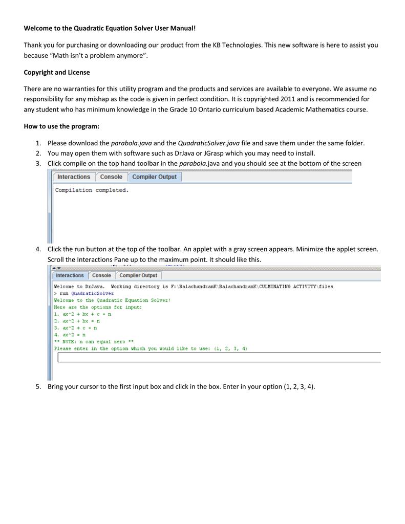 Welcome to the Quadratic Equation Solver User Manual | manualzz com