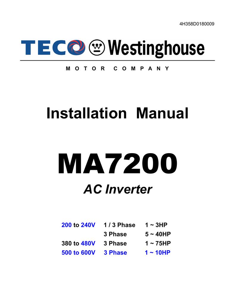 Installation Manual - TECO-Westinghouse Motors (Canada) Inc ... on