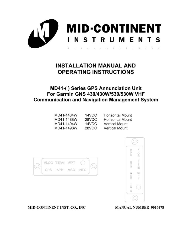 Installation Manual And Operating Instructions Garmin 430 Wiring Diagram