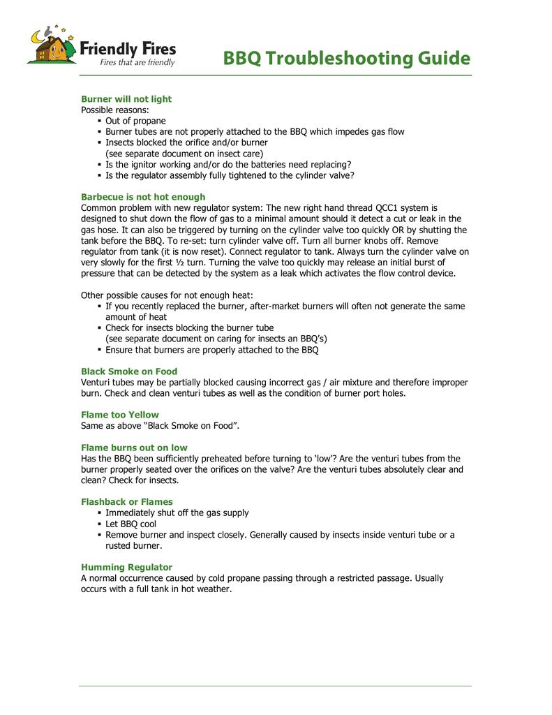 BBQ Troubleshooting Guide | manualzz com