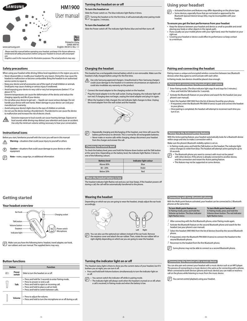 Samsung HM-1900 User manual | manualzz com