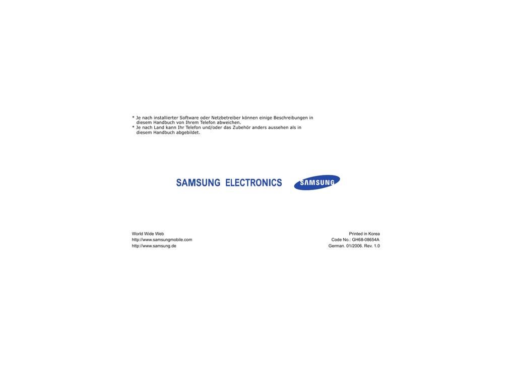 Samsung SGH-D800 Benutzerhandbuch