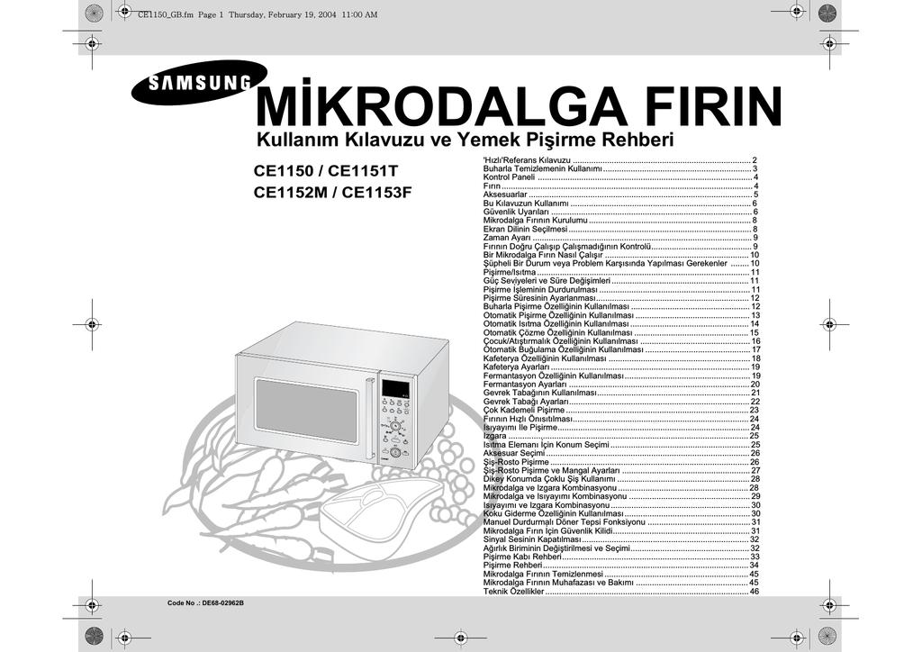 Samsung Ce1150 Kullanim Kilavuzu Manualzz Com