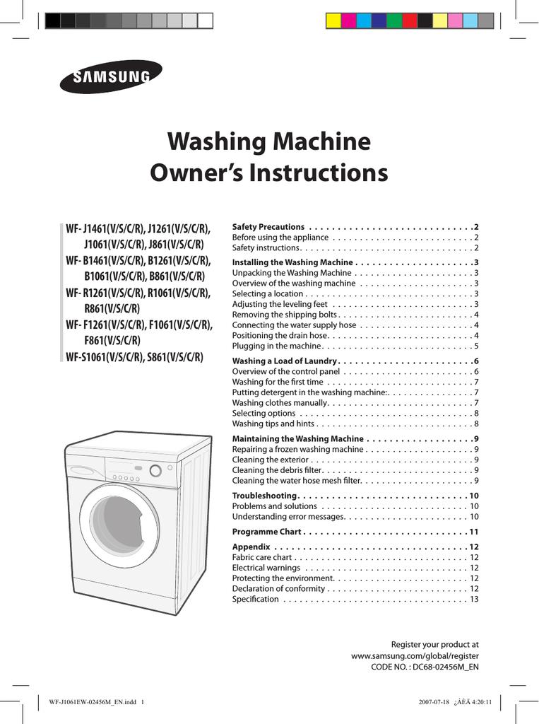 Samsung Wf J1061 User Manual Manualzz