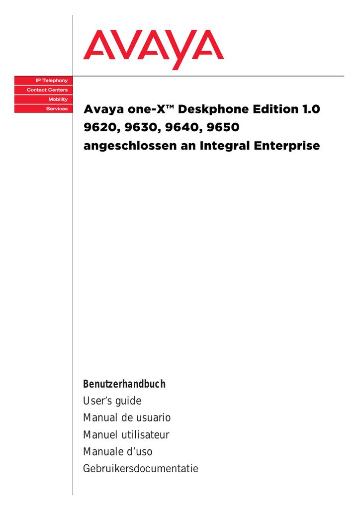 Avaya one-X™ Deskphone Edition 1.0 9620, 9630   manualzz.com