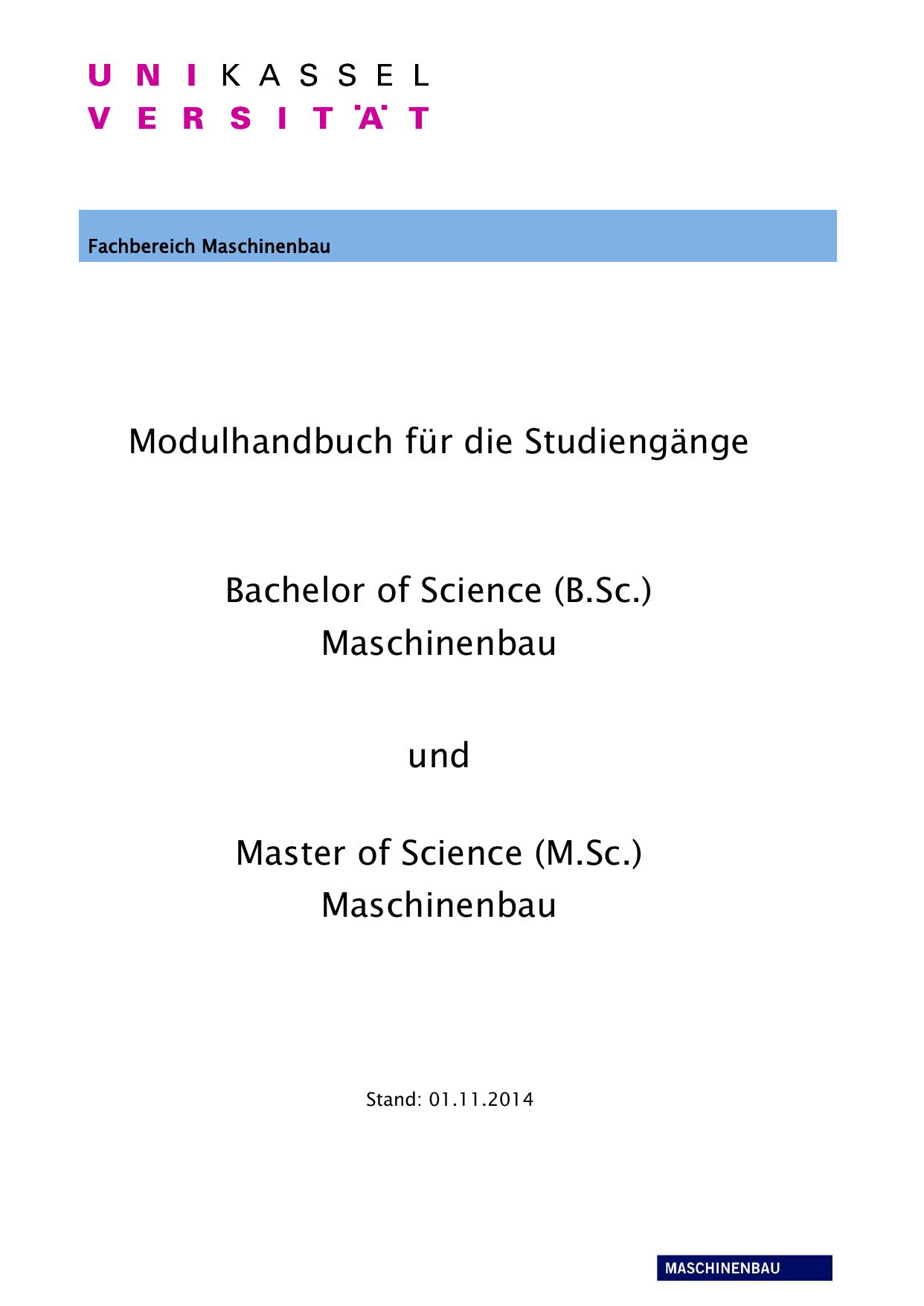 Universität Kassel, Fachbereich Maschinenbau | manualzz.com