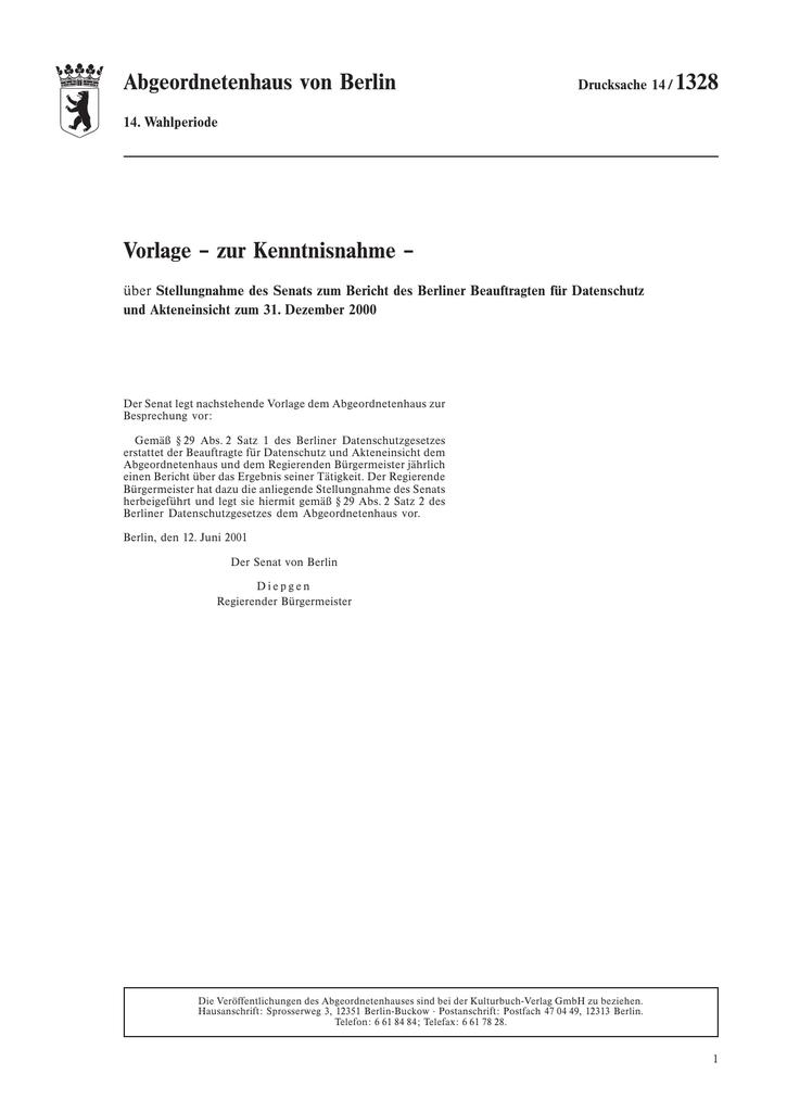 Stellungnahme des Senats zum Jahresbericht 2000 (Drs. 14/1328 ...