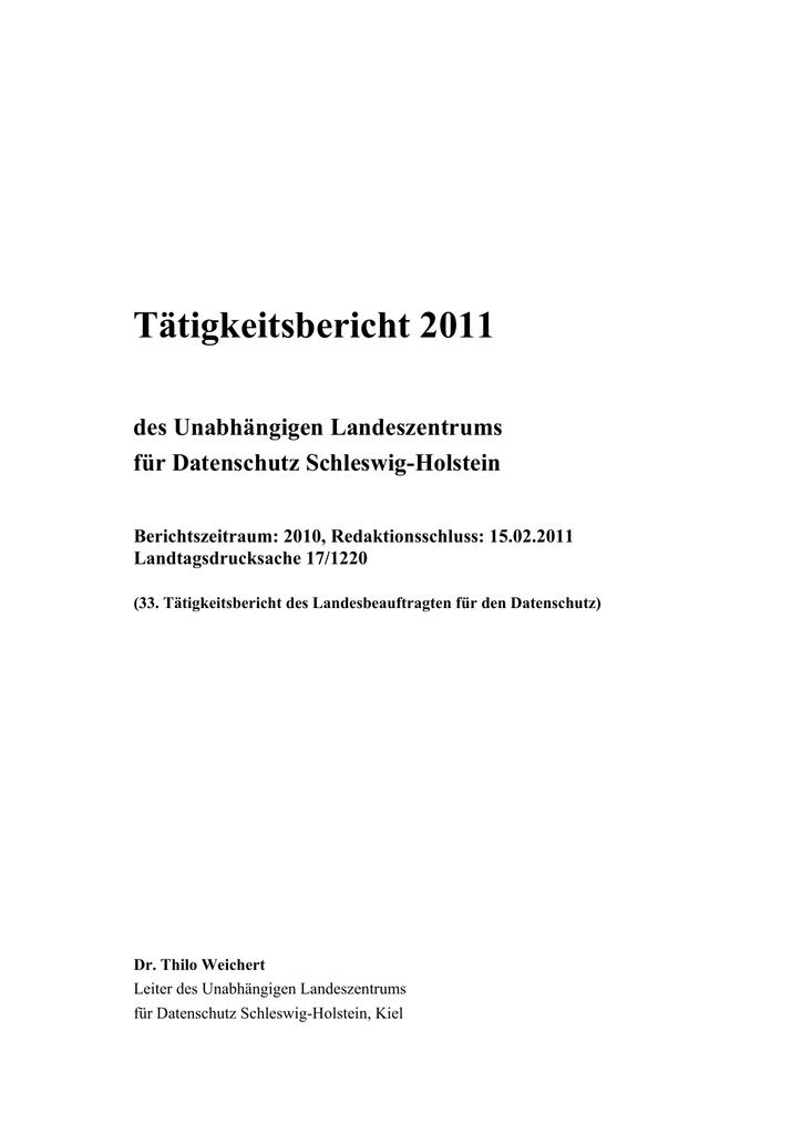 Tätigkeitsbericht 2011 - Unabhängiges Landeszentrum für | manualzz.com