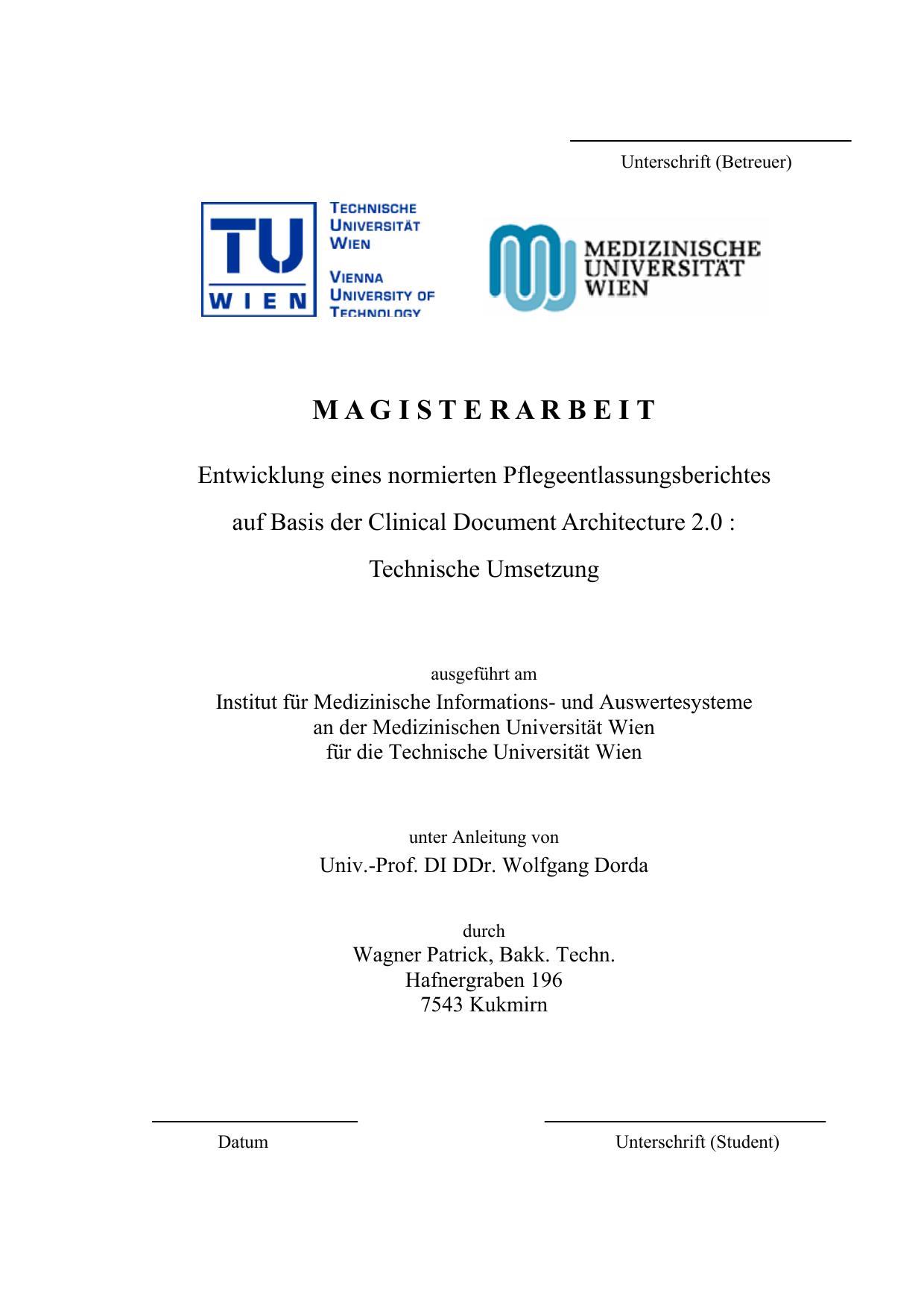 M A G I S T E R A R B E I T - Medizinische Universität Wien ...