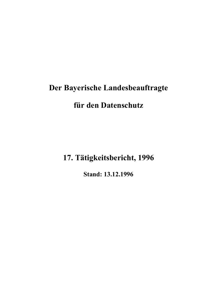 17. Tätigkeitsbericht - Bayern | manualzz.com