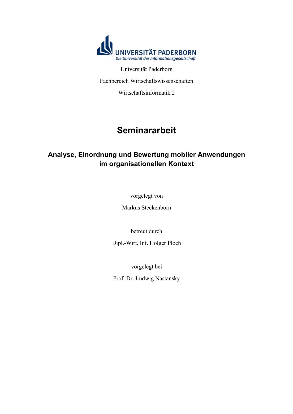 Seminararbeit Markus Steckenborn Manualzz Com