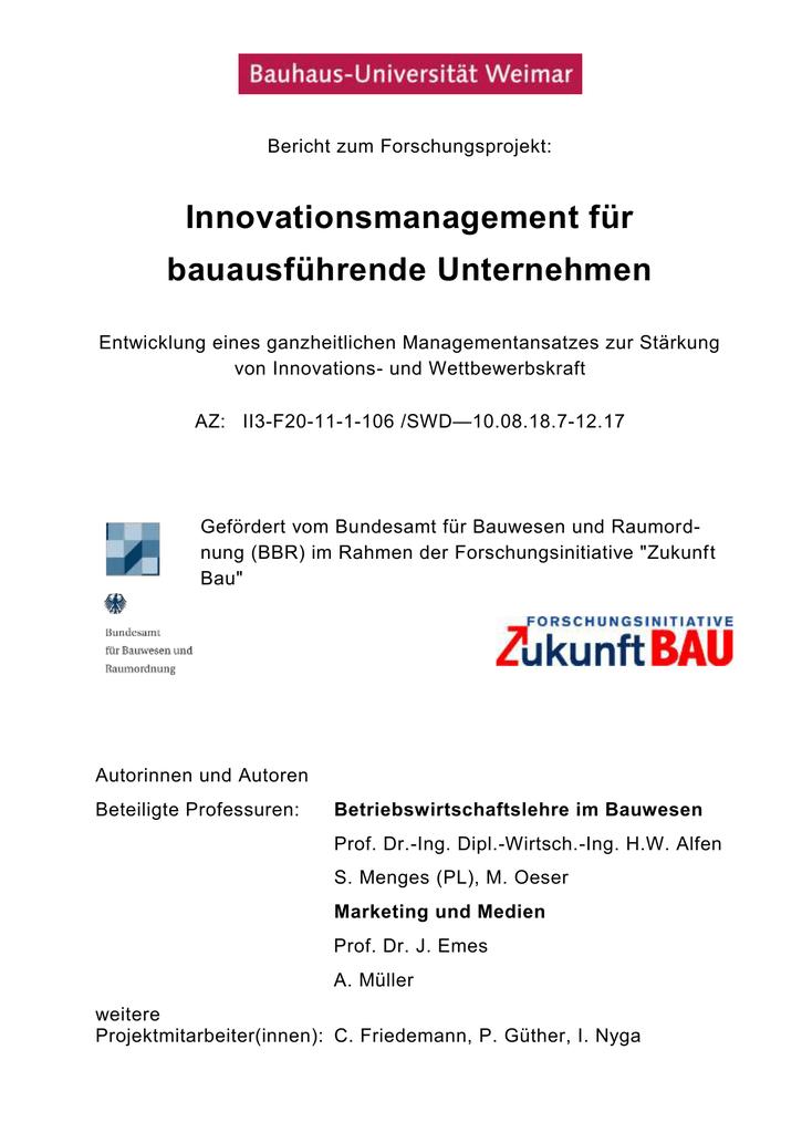 Innovationsmanagement für bauausführende Unternehmen | manualzz.com