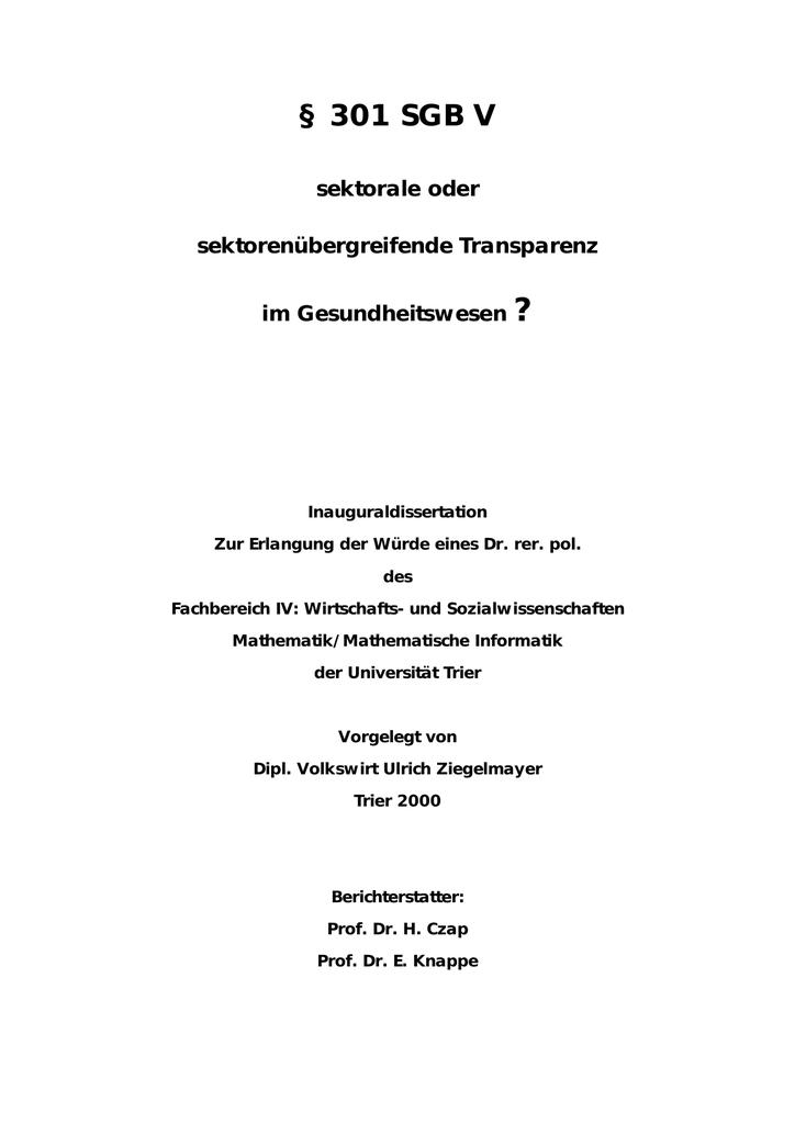 301 SGB V - Hochschulschriftenserver der Universität Trier ...