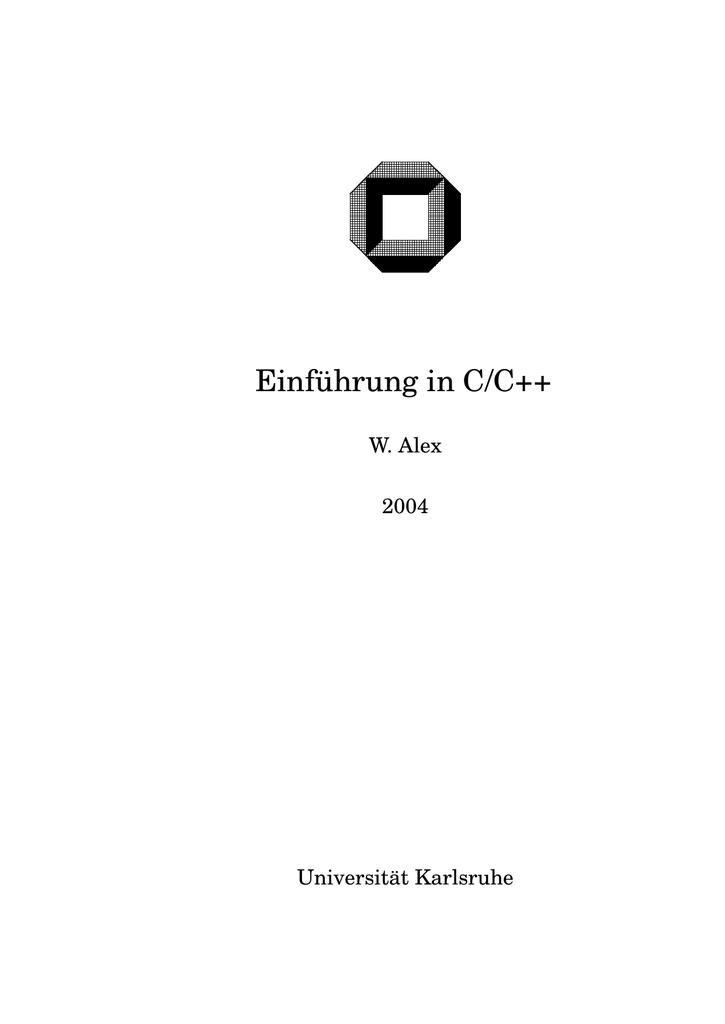 Einf ¨uhrung in C/C++ - Digital | manualzz.com