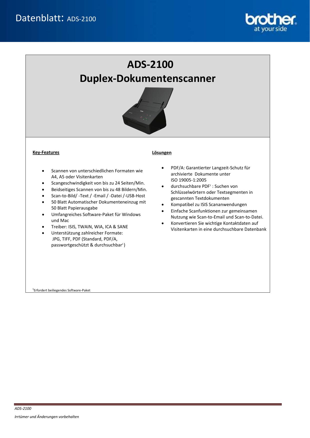 Ads 2100 Duplex Dokumentenscanner Manualzz Com