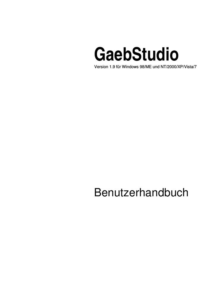 Das Handbuch Zum Gaebstudio Mohr Manualzz Com