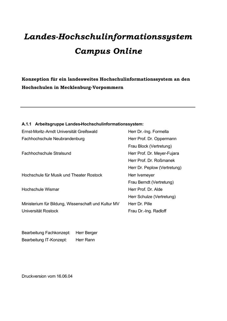 Konzeption Landeshochschulinformationssystem   manualzz.com