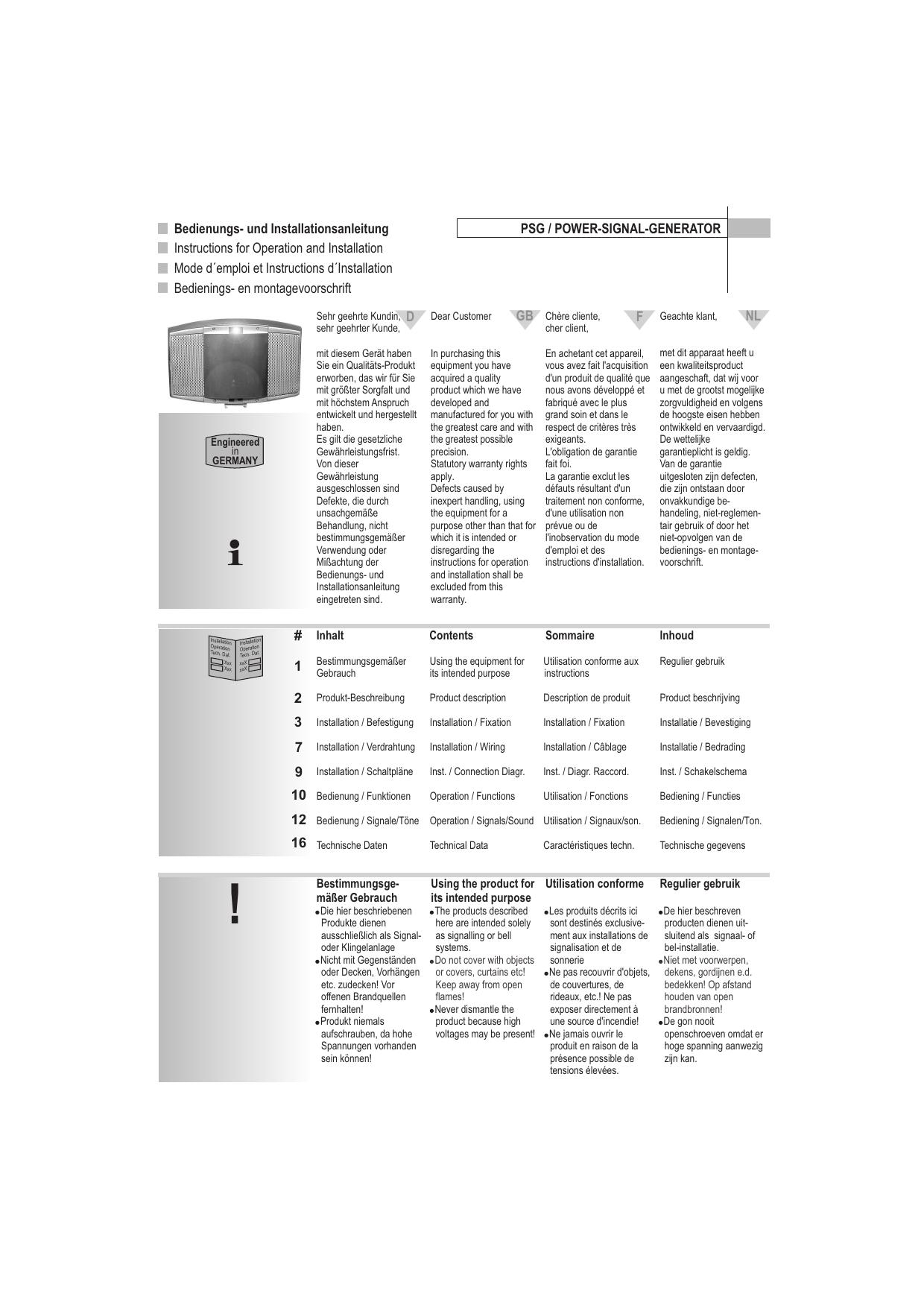 und Installationsanleitung Instructions for Operation | manualzz.com