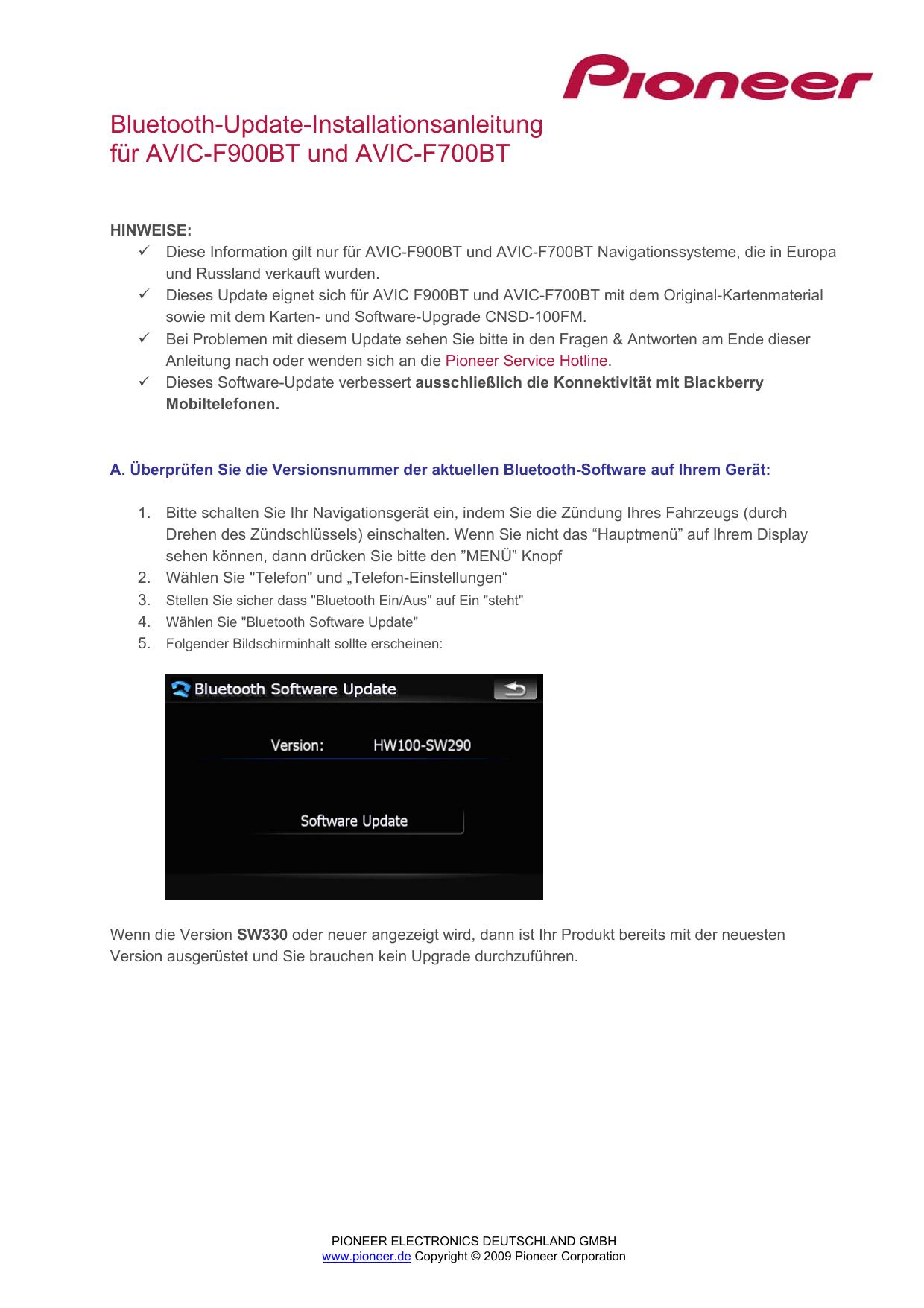 Pioneer Bluetooth Software Update