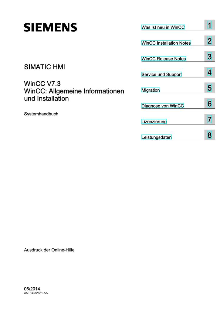 SIMATIC HMI WinCC V7.3 - Allgemeine - Service | manualzz.com