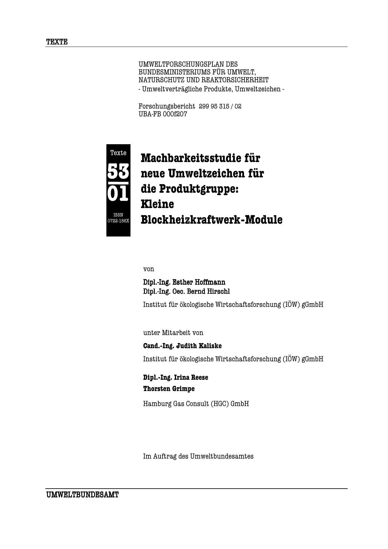 Machbarkeitsstudie Umweltzeichen-BHKW, Seiten 1-239 | manualzz.com
