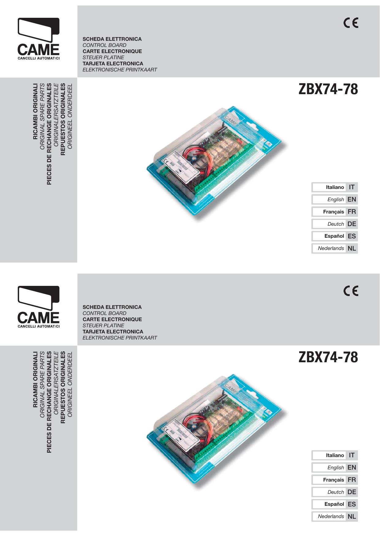 Came Zbx74 78 Instrukciya