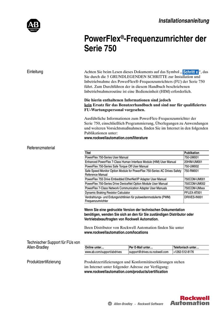 Installationsanleitung Powerflex 753, 755 | manualzz com