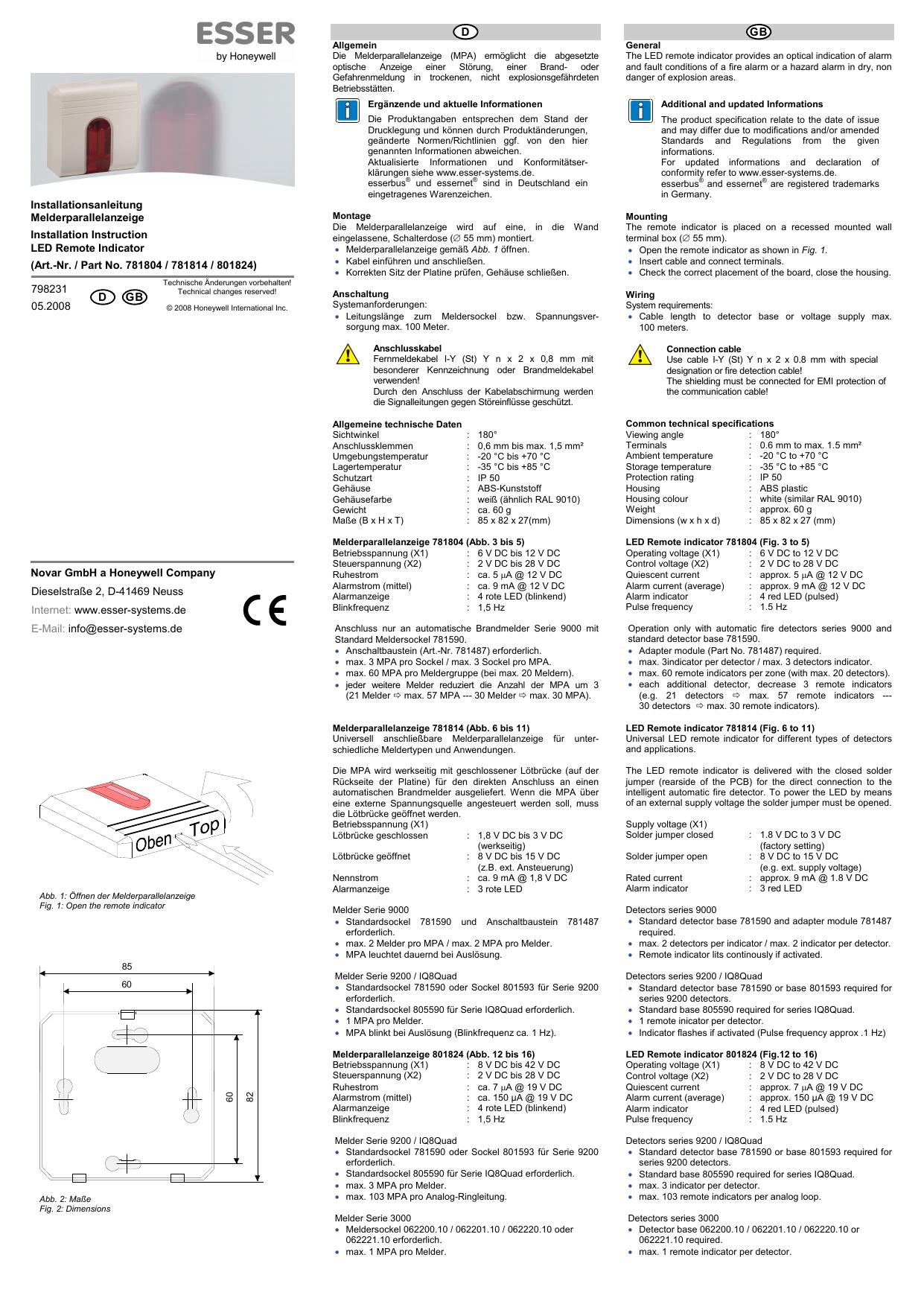 Esser 781804 Melderparallelanzeige für Melderserie ES Detect und 9000 rot NEU