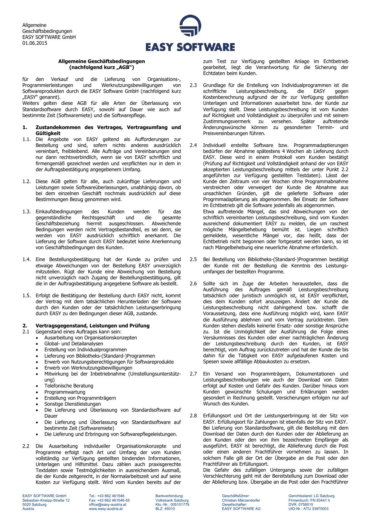 Allgemeine Geschäftsbedingungen EASY SOFTWARE 01.06 | manualzz.com