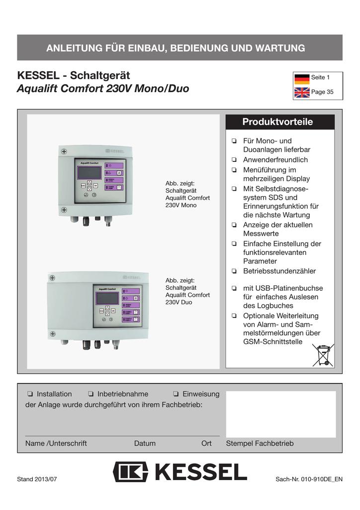 Bedienungsanleitung Schaltgerät Aqualift Comfort 230V Mono/Duo