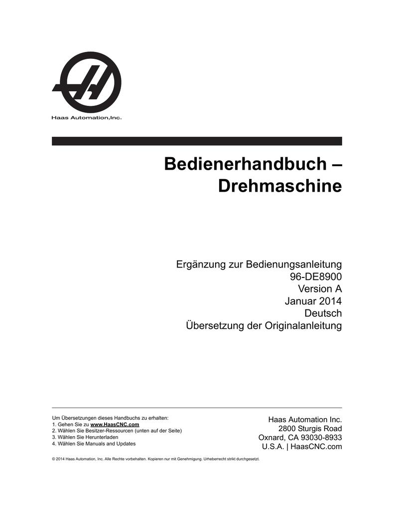 Drehmaschine - Haas Automation® Resource Center | manualzz.com