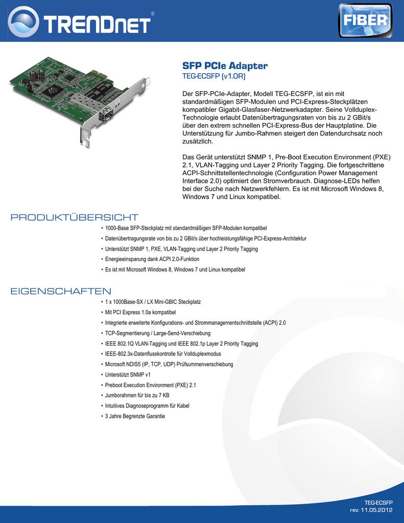 SFP PCIe Adapter | manualzz.com