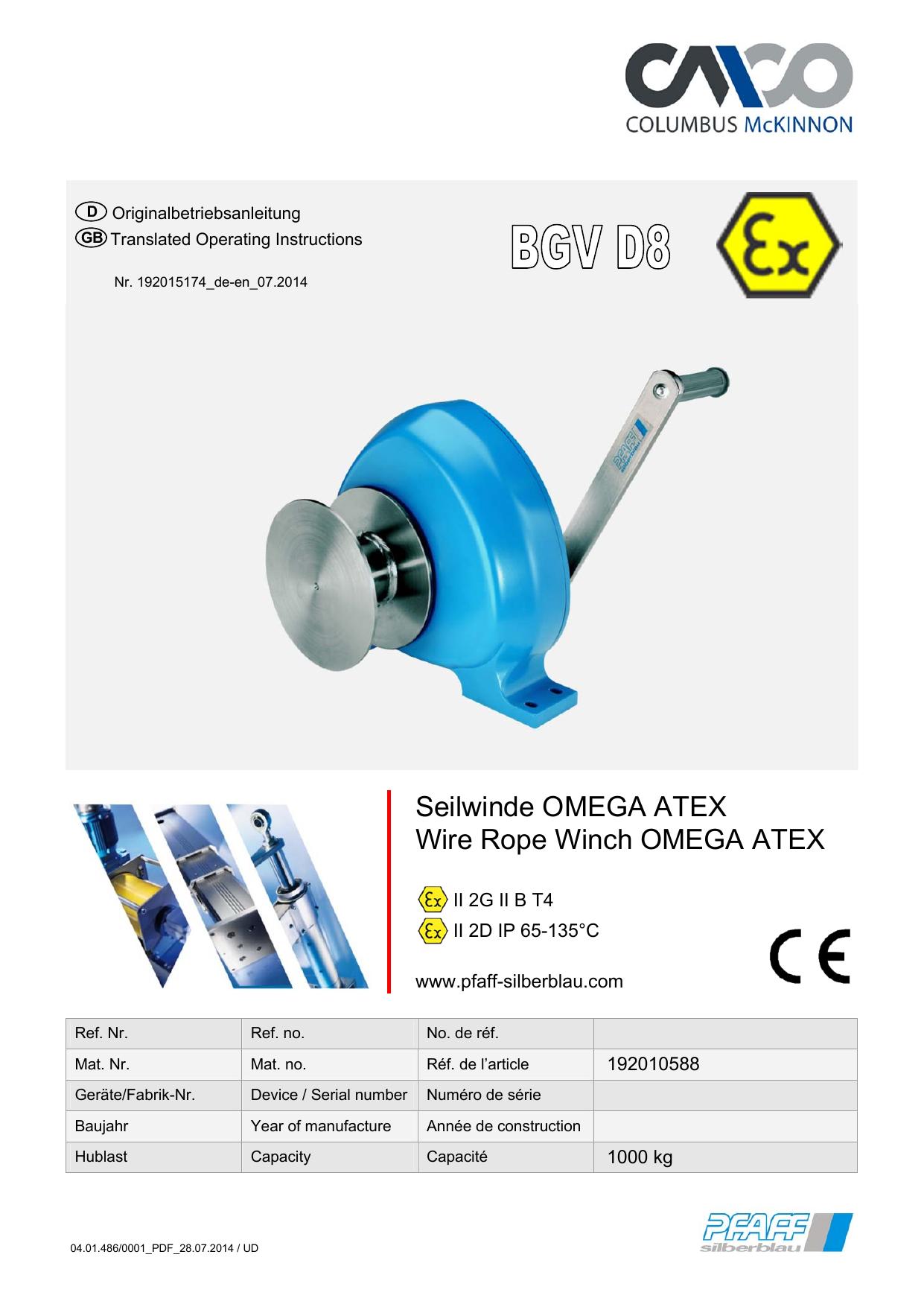 Seilwinde OMEGA ATEX Wire Rope Winch   Pfaff   Manualzz