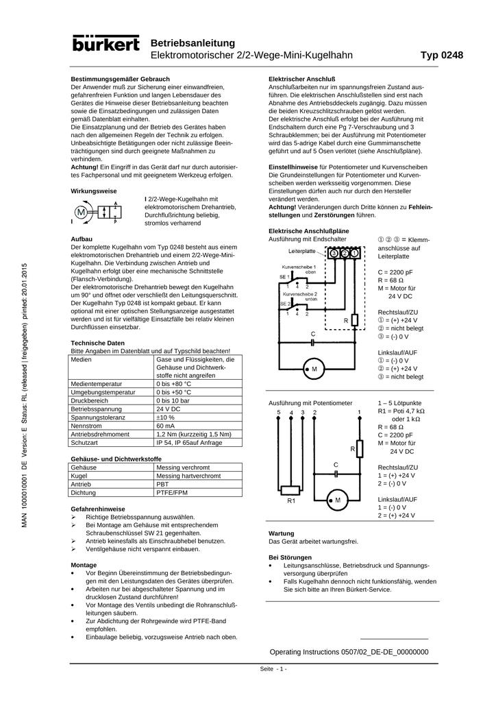 Betriebsanleitung Elektromotorischer 2/2-Wege-Mini | manualzz.com