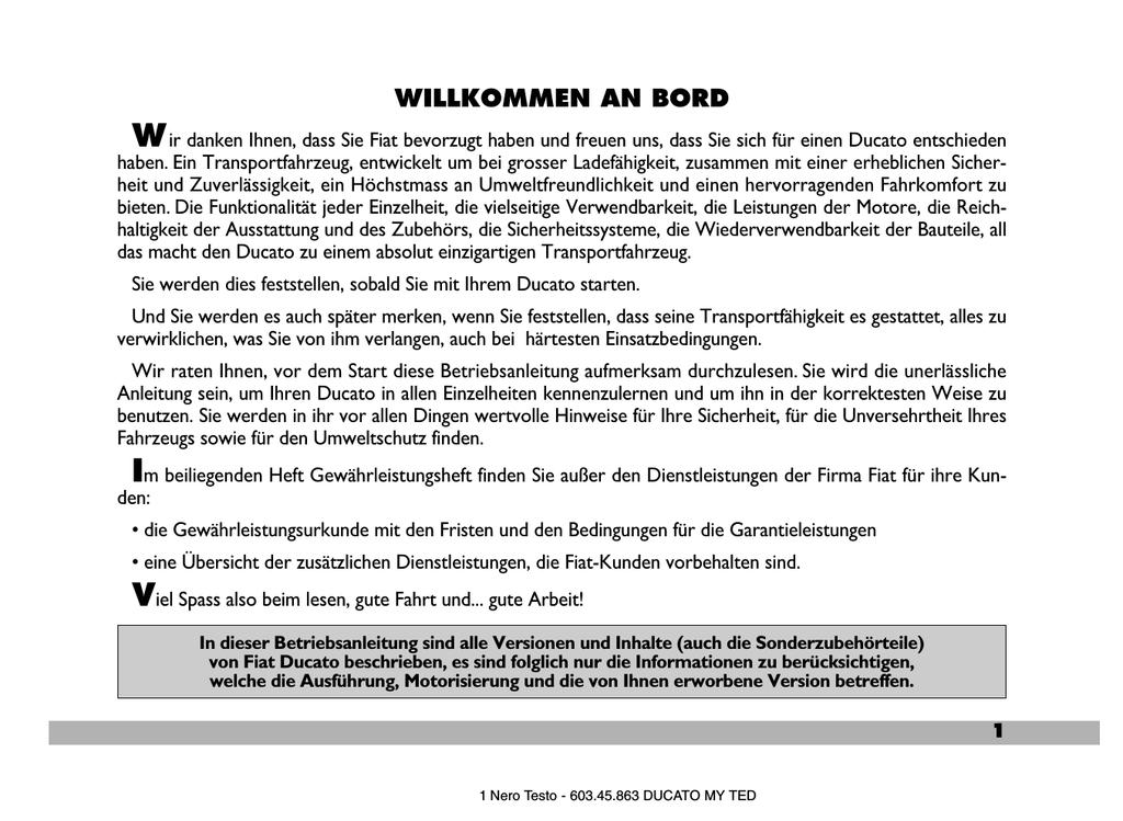 WILLKOMMEN AN BORD - Fiat Professional | manualzz.com