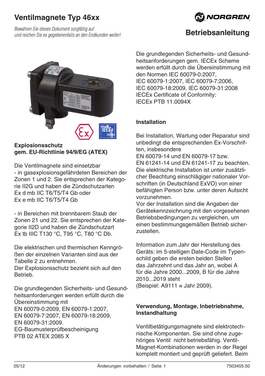 Betriebsanleitung Ventilmagnete Typ 46xx | manualzz.com