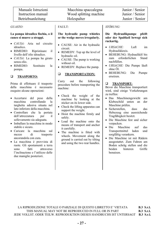 Manuale Istruzioni Macchina Spaccalegna Junior Senior Instruction