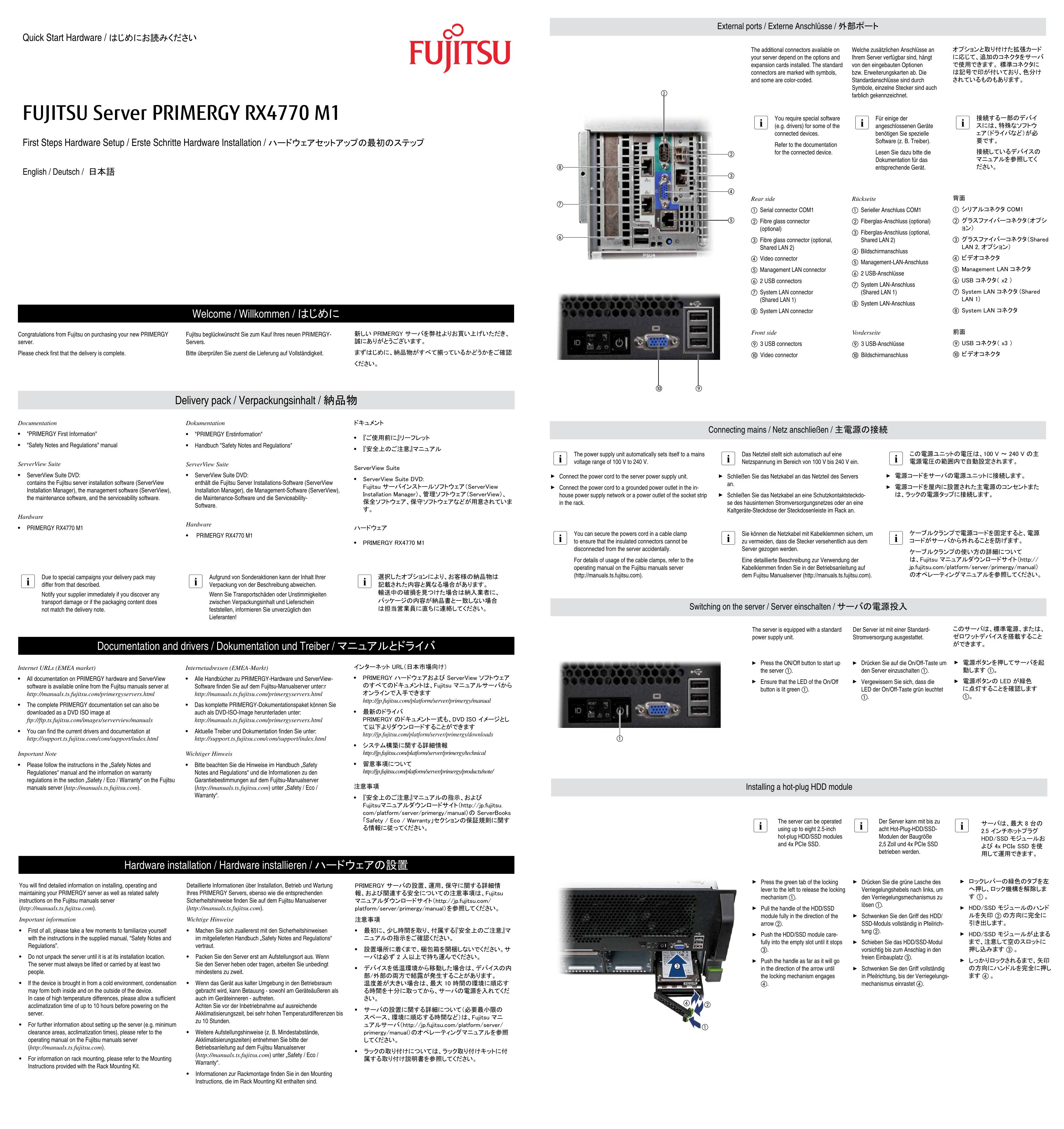 Fujitsu Server Primergy Rx4770 M1 Manualzz