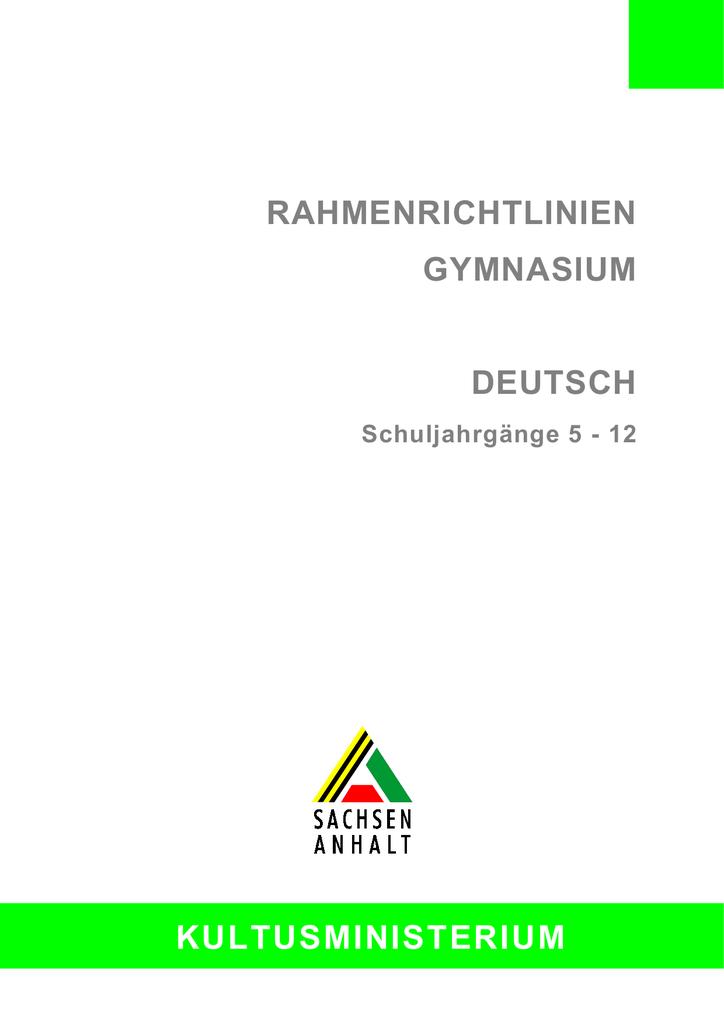1 Aufgaben des Faches Deutsch am Gymnasium | manualzz.com