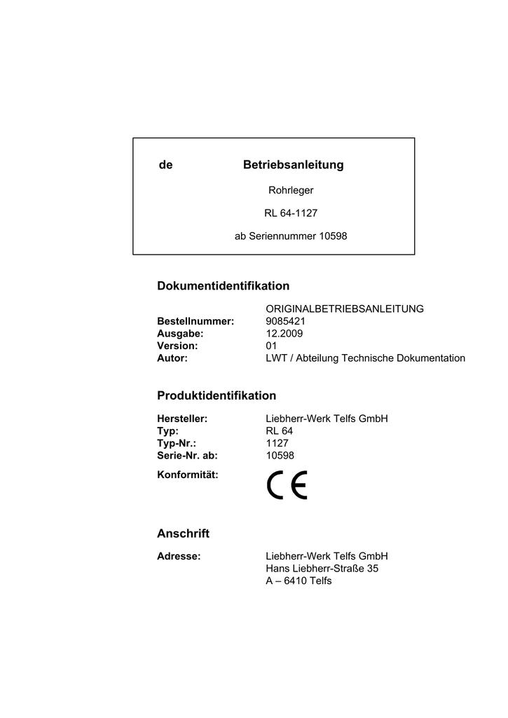 de Betriebsanleitung Dokumentidentifikation | manualzz.com
