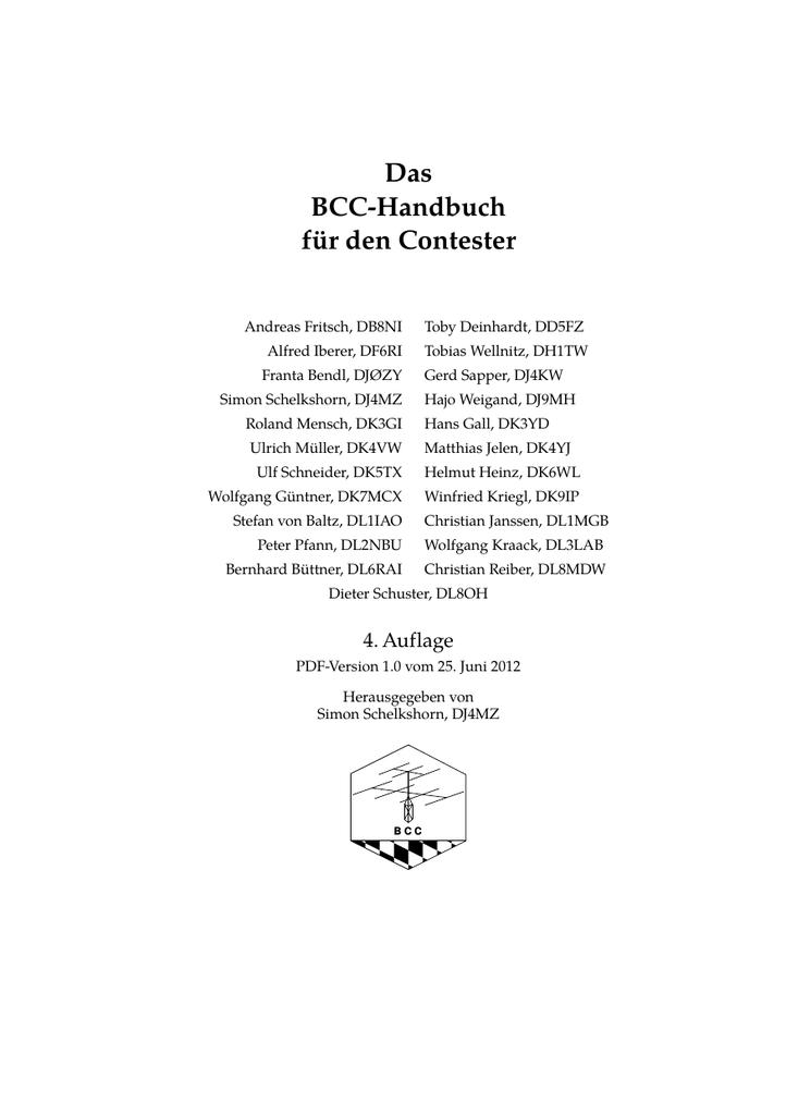 Das BCC-Handbuch für den Contester | manualzz.com