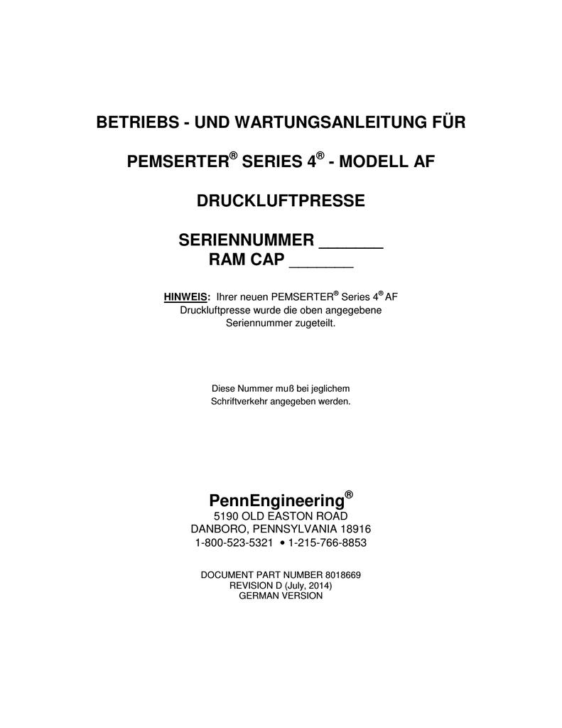 betriebs - und wartungsanleitung für pemserter | manualzz.com