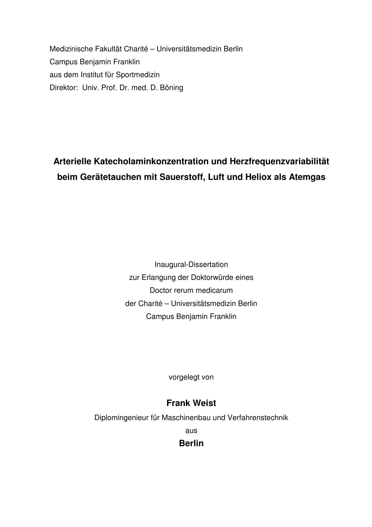 Arterielle Katecholaminkonzentration und Herzfrequenzvariabilität ...
