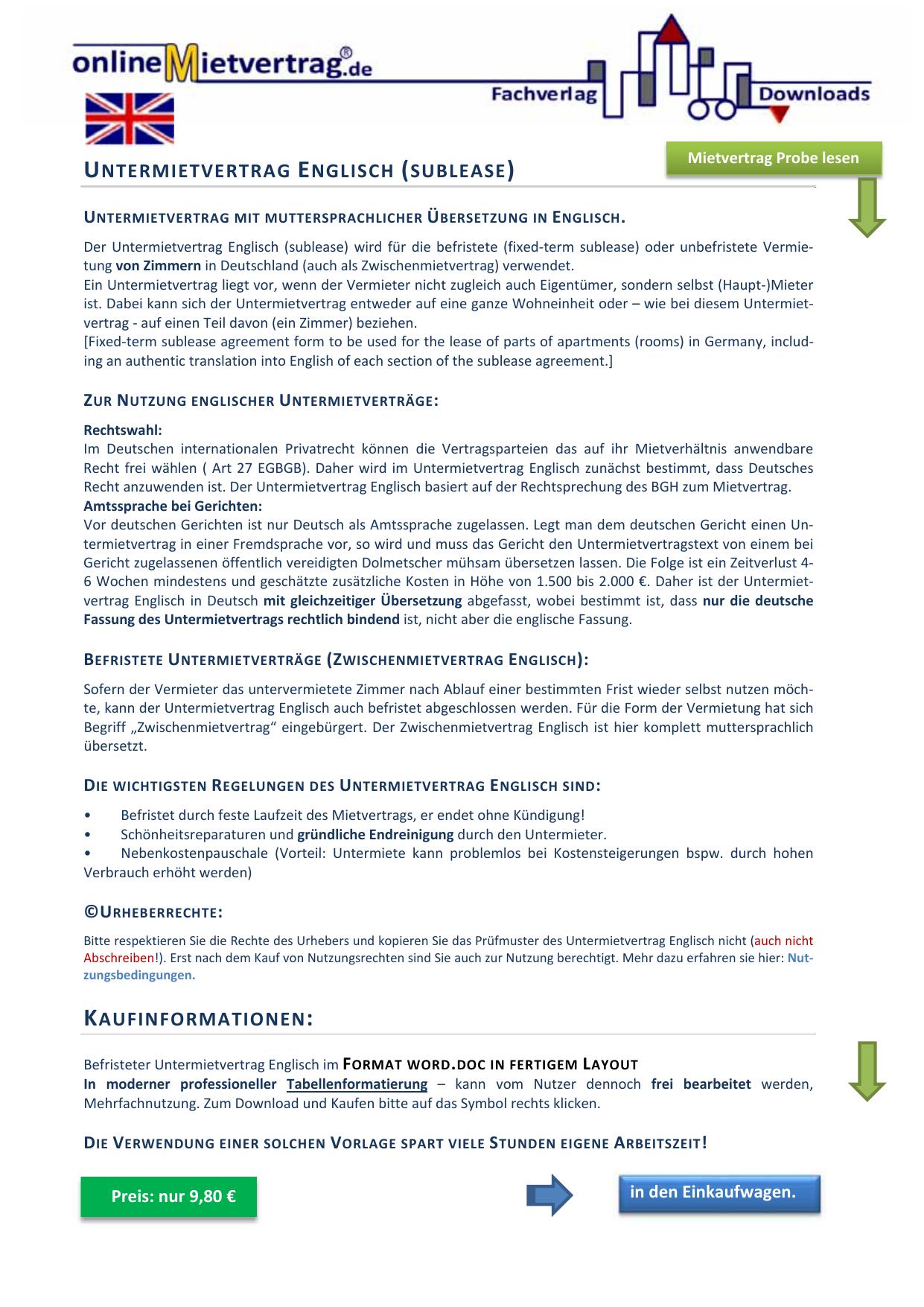 Untermietvertrag Englisch Sublease Manualzzcom