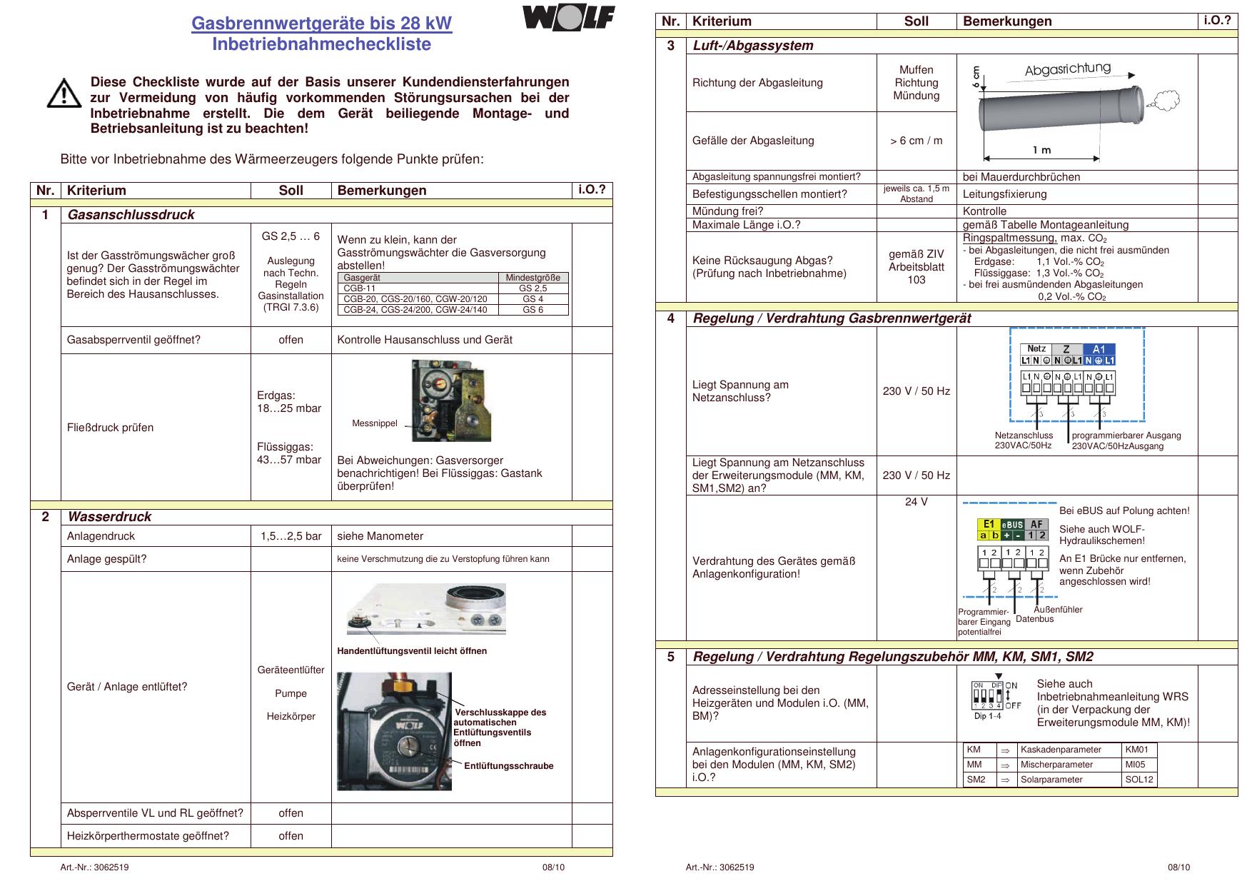 Gasbrennwertgeräte bis 28 kW Inbetriebnahmecheckliste | manualzz.com