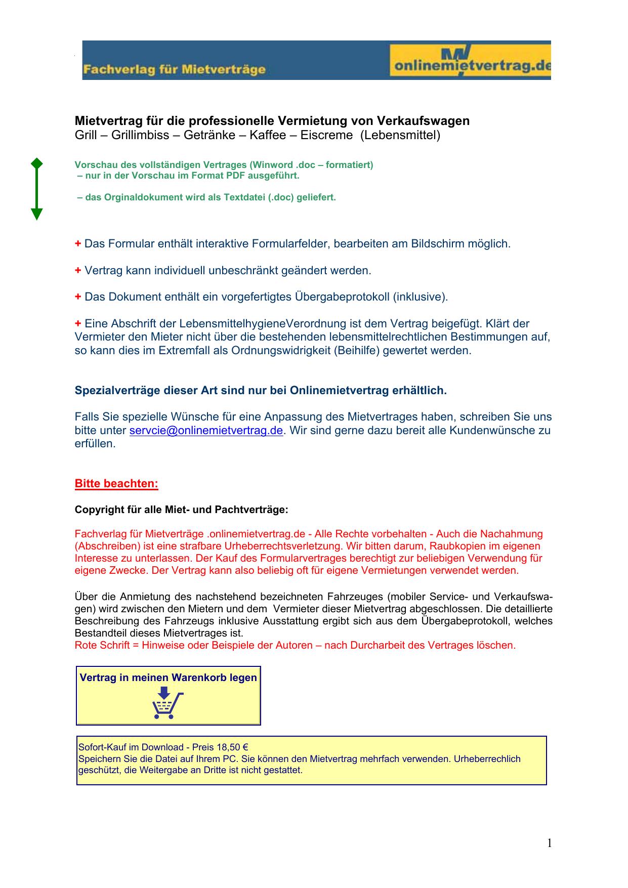 mietvertrag fr die vermietung von verkaufswagen manualzzcom - Ubergabeprotokoll Muster Gegenstande